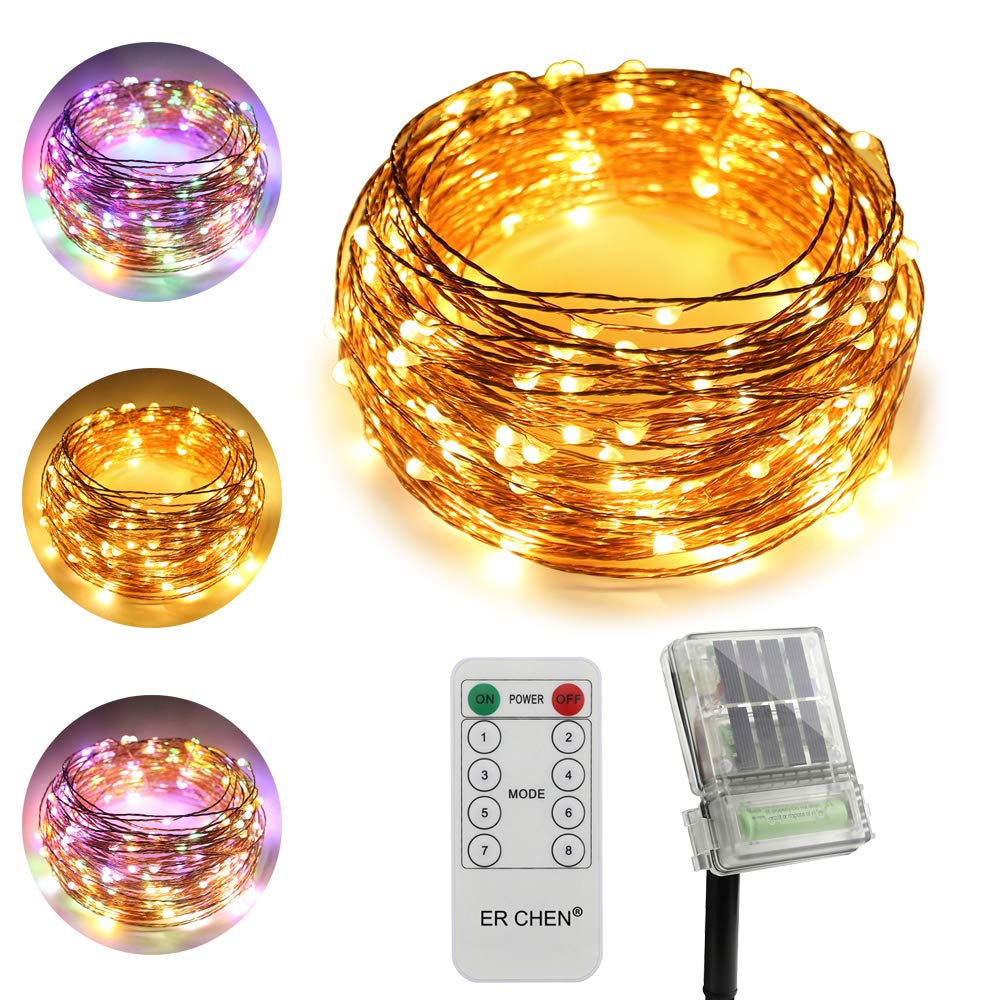 ErChen Dual-Color Solar Powered + Backup Battery Power LED String Lights, 66FT 200 LEDs Remote Control Color Changing 8 Modes Copper Wire Fairy Lights for Outdoor Garden (Warm White, Multicolor) ER CHEN