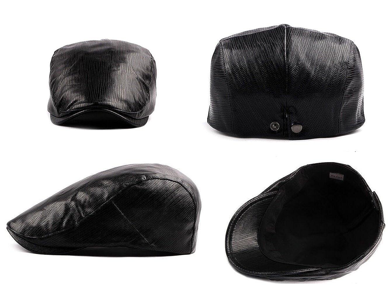 9d888c4c17598 Mens Flat Cap Adjustable Leather Beret Vintage Gatsby Golf newsboy Hat In 3  Colours (Black)  Amazon.co.uk  Clothing