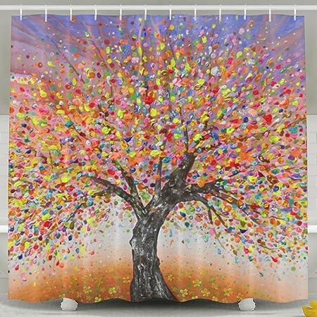 LETEPRO Abstrait Arbre de la Vie Peinture Rideau de Douche, étanche  Polyester Tissu décoratif de Bain Rideaux 180 * 200 cm Blanc: Amazon.fr:  Cuisine & Maison