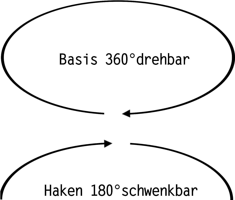 2 Starke bewegliche Neodym Magnethaken /Ø 32 mm 180/° schwenkbar 30 kg Haftkraft auf Zug 360/° drehbar nach unten maximal 5,5 kg