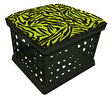 Beau New Black Milk Crate Storage Container Ottman Bench Stool With Green Zebra  Themed Seat Cushion