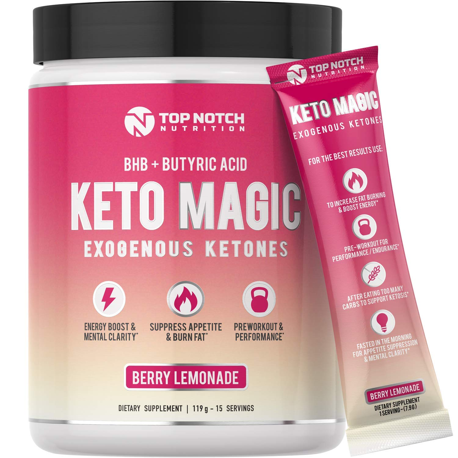 Keto Magic Exogenous Ketone Supplement Powered by Patent-Pending KETOBA (BHB Salts+BA) | Achieve Ketosis & Ketogenesis w/Easy On-The-Go Single Serving Pouches. Amazing Energy, Stamina & Focus. (15) by TOP NOTCH NUTRITION