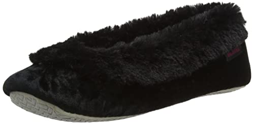 Crushed Velour Ballet Slippers, Chaussons Femme, Noir (Black), 39 EUIsotoner