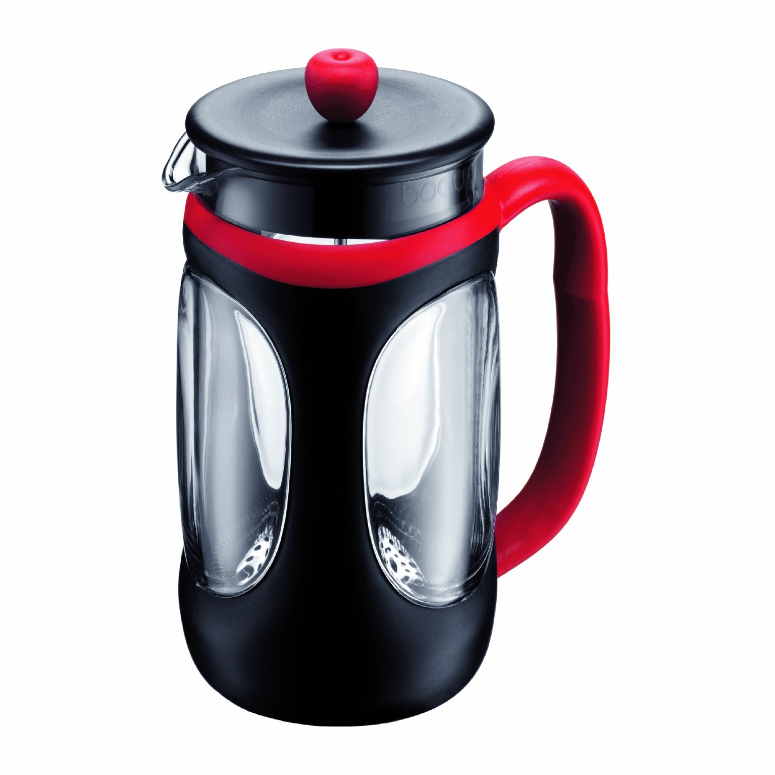 Bodum Young Press French Press Coffee Maker, 34 Ounce, 1 Liter, (8 Cup), Red and Black