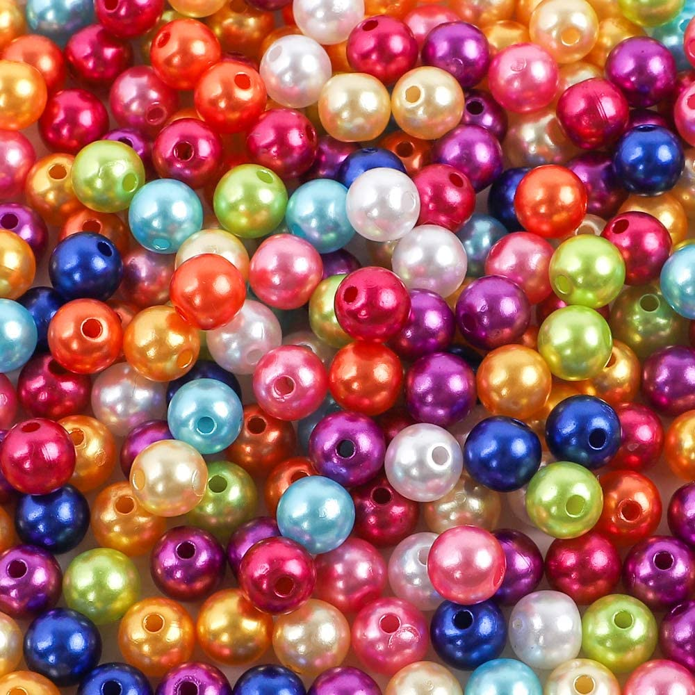 Outuxed - 600 perlas artificiales, de 8mm, 10 colores, perlas de ABS de colores, perlas redondas para joyas, artesanía, manualidades, bisutería
