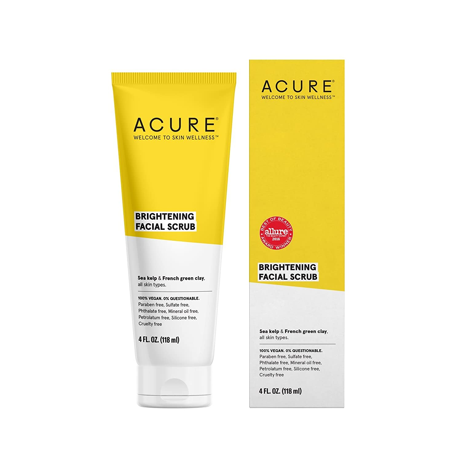 Acure Brilliantly Brightening Facial Scrub All Skin Lightening Types 4 Fluid Ounce Packaging May Vary Health Personal Care