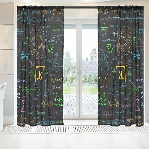 ingbags elegante cortina de SHEER gasa ventana largo 2 paneles matemáticas de parcelas impresión geométrica Multicolor Poliéster de tul para puerta ventana Habitación Decoración 55 x 78 cm, juego de 2, poliéster,