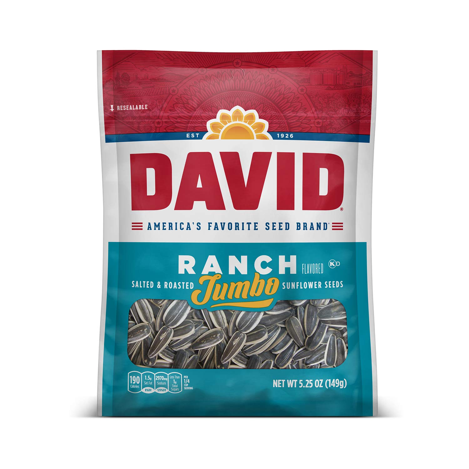 DAVID Roasted and Salted Ranch Jumbo Sunflower Seeds, Keto Friendly, 5.25 oz, 12 Pack