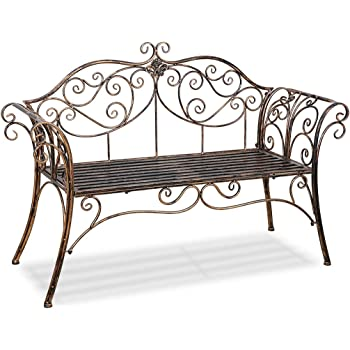 Amazon Com Hlc Metal Antique Garden Bench Outdoor Double