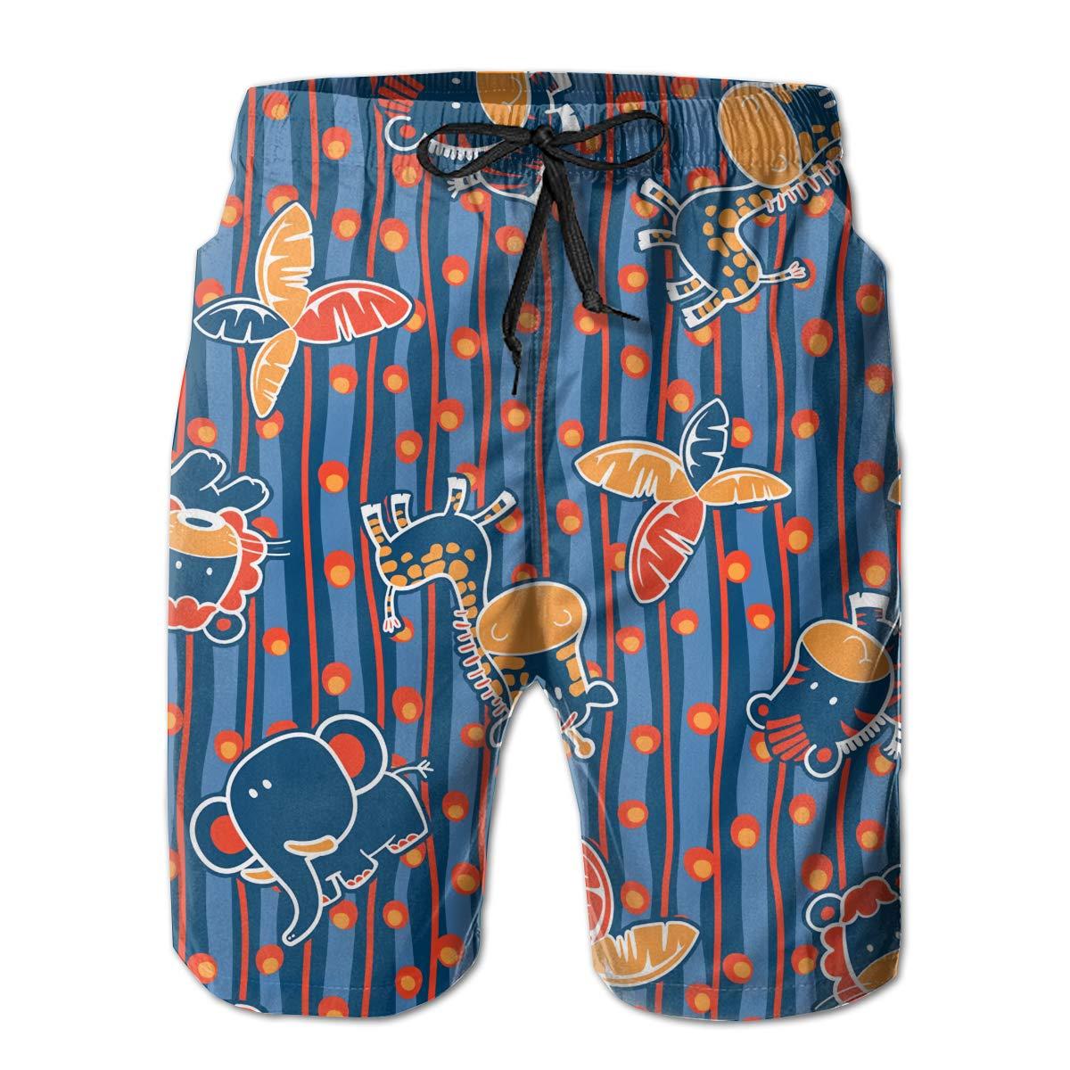 SARA NELL Mens Swim Trunks Cute Jungle Animals and Leaves Polka Dot Surfing Beach Board Shorts Swimwear