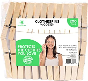 Eldorado Clothespins, Standard Natural Wooden, Stain Proof, 3 inch, 200 Value Pack, for Multipurpose Everyday Laundry, Clothes, Towels, Craft, Photos, Pictures, Decor, Baby Shower, Art Wall