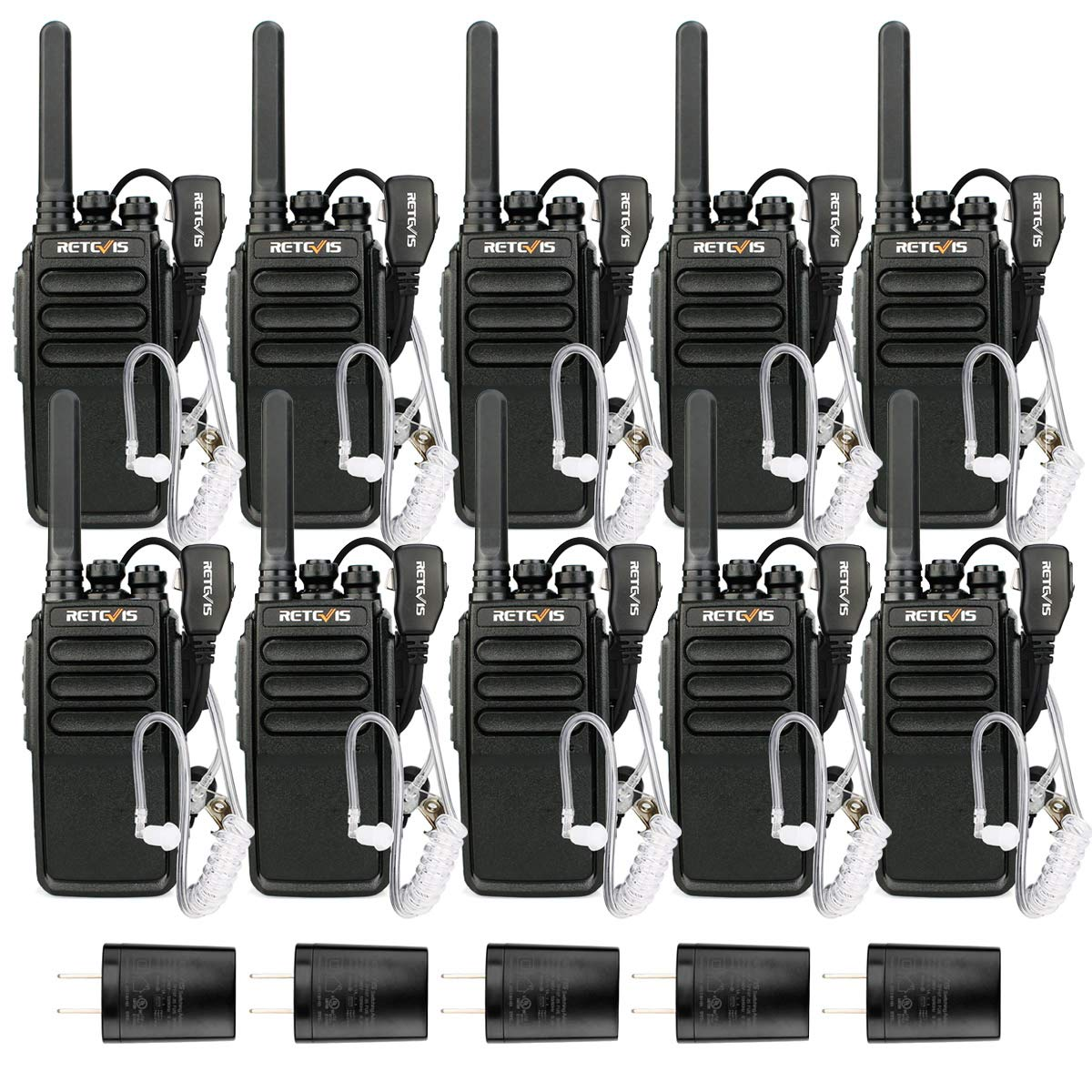 Retevis RT28 Walkie-Talkies with Earpiece Two-Way Radios Long Range Rechargeable FRS EmergencyAlarm VOX Handsfree 2 Way Radios Commercial (10 Pack) by Retevis