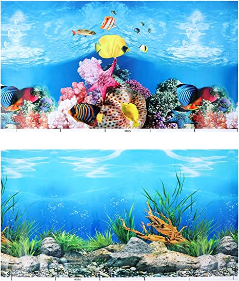 52x30cm, Style A POPETPOP Aquarium Tank Background Wallpaper 3D Double-sided Static Cling Sticker Underwater Backdrop Image Decor
