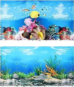 Adhesivo De Fondo Para Acuario De Popepp 3d De Doble Cara Para Pecera Decoración De Fondo Fondo Subacuático 19 7 In X 11 0 In Mascotas