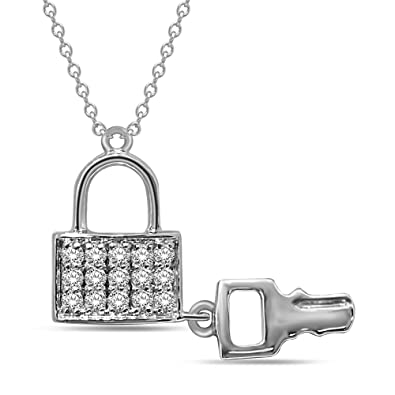 38146bea817 Image Unavailable. Image not available for. Color: Wickersham Closeouts 10K  White Gold 1/5 Ct.Tw.Diamond Lock & Key
