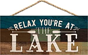P. Graham Dunn Relax You're at The Lake Canoe Paddles 5 x 10 Wood Plank Design Hanging Sign