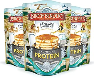 product image for Performance Protein Pancake and Waffle Mix with Whey Protein by Birch Benders, 16 Grams Protein Per Serving, Non-GMO Verified, Just Add Water, 48 Ounce (16oz 3-pack)