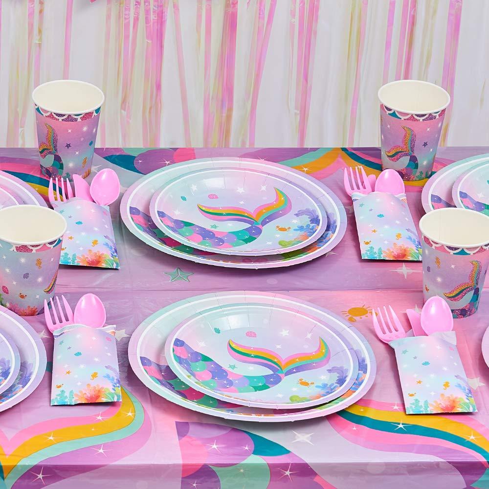 Estate Piscina Articoli per Feste per Ragazze Sirena Compleanno Bandiera Palloncini Tovaglia Piatti Coppe Tovaglioli Vasellame Serve 16 Ospiti 153 Pezzi WERNNSAI Sirena Decorazioni per Feste Kit