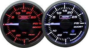 "Boost Gauge-Electrical Amber/white Premium Series Clear lens white pointer with Peak Recall and Warning 52mm (2 1/16"")"