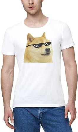 Doge Shiba Inu Funny Swag Meme Hombres Camiseta Blanco | Mens White T-Shirt Tshirt T Shirt: Amazon.es: Ropa y accesorios