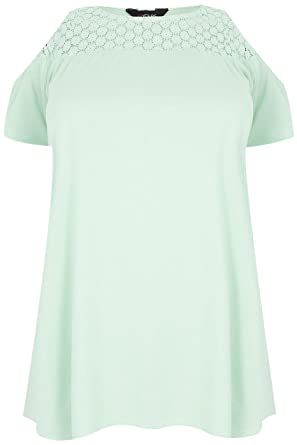 b02762fad67 Yours Clothing Women s Plus Size Mint Cold Shoulder Lace Yoke Top Size 16  Green