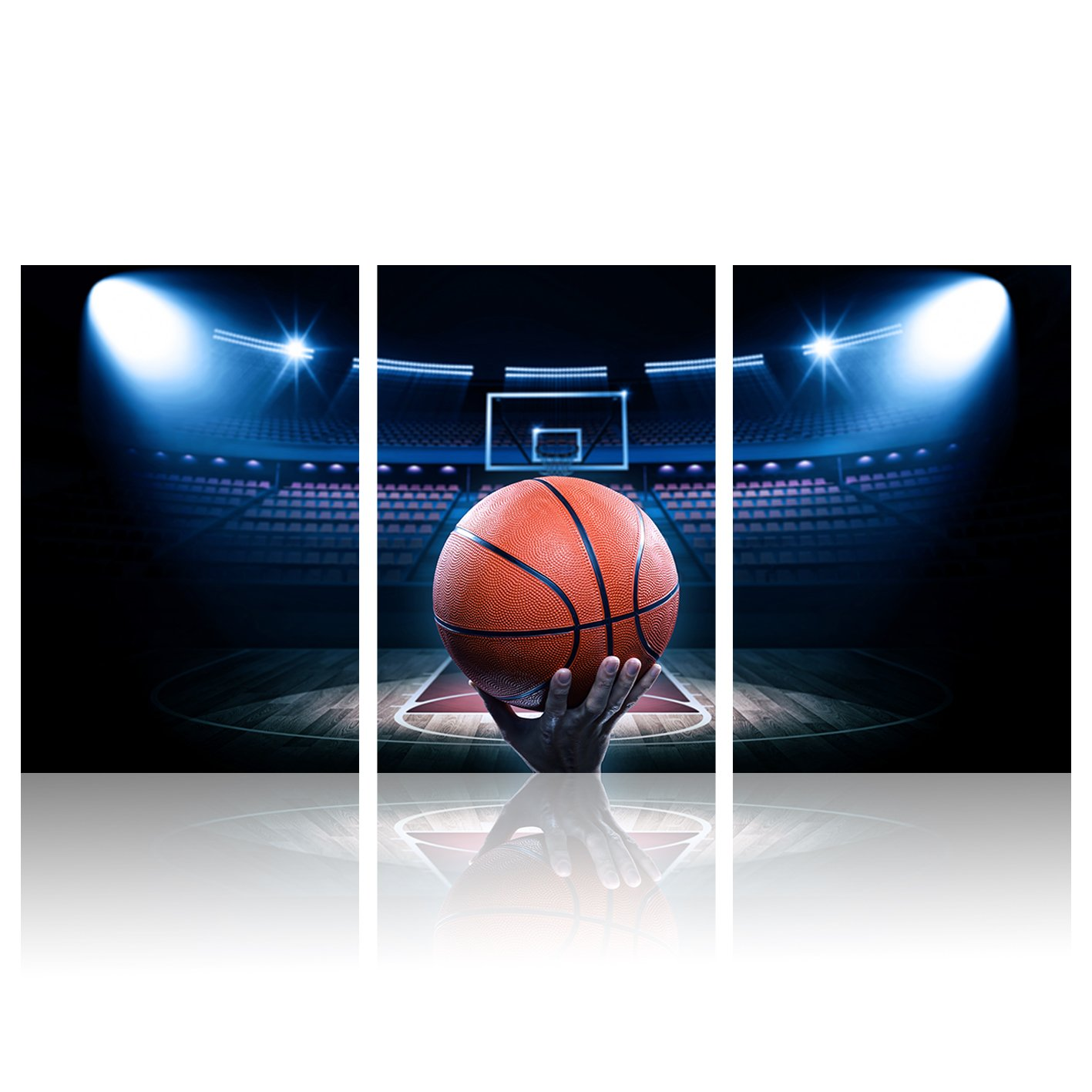 "3 Pieces Canvas Wall Art A Big Hand Take a New Basketball at Basketball Field Sport Modern Home Decor Stretched and Framed for Boys Room Ready to Hang 16""x24""x3 Panels"