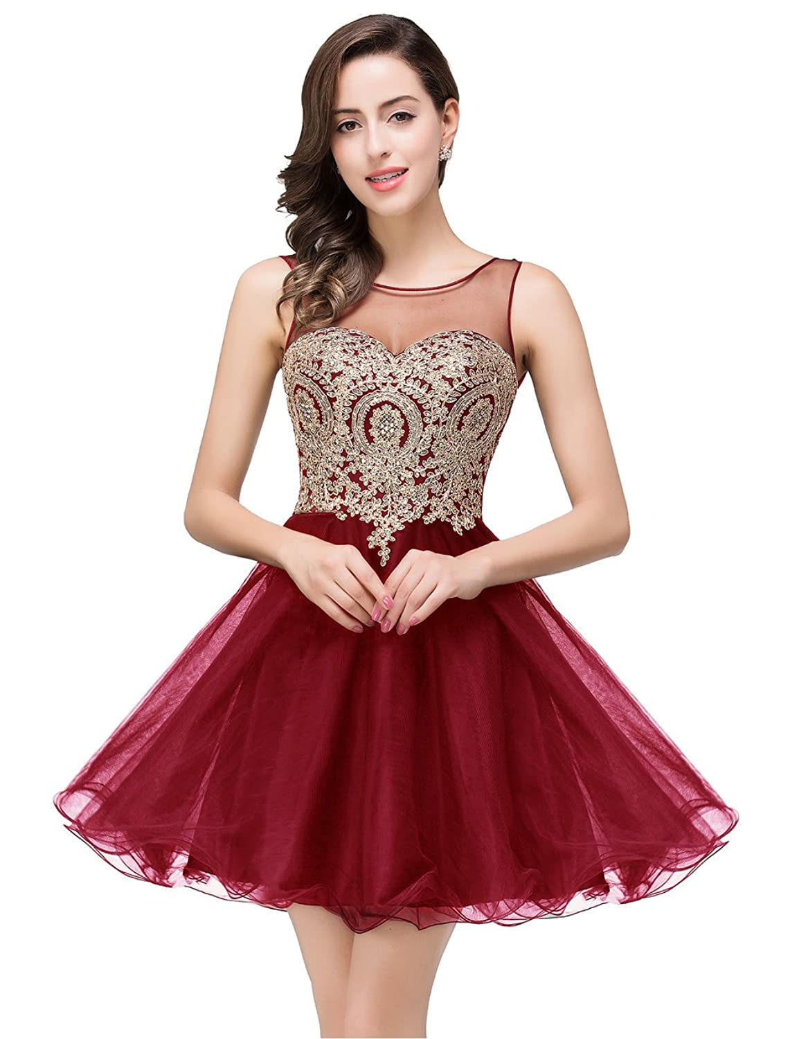 2017 Women's Cocktail Dresses Crystals Applique Short Prom Dresses