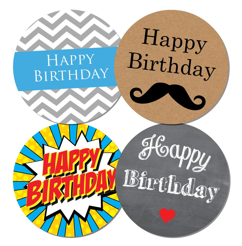'Happy Birthday' Stickers - Male theme - 4 designs per pack, cards,shops, sweets - 30mm or 60mm diameter (60 mm Stickers) StickerZone