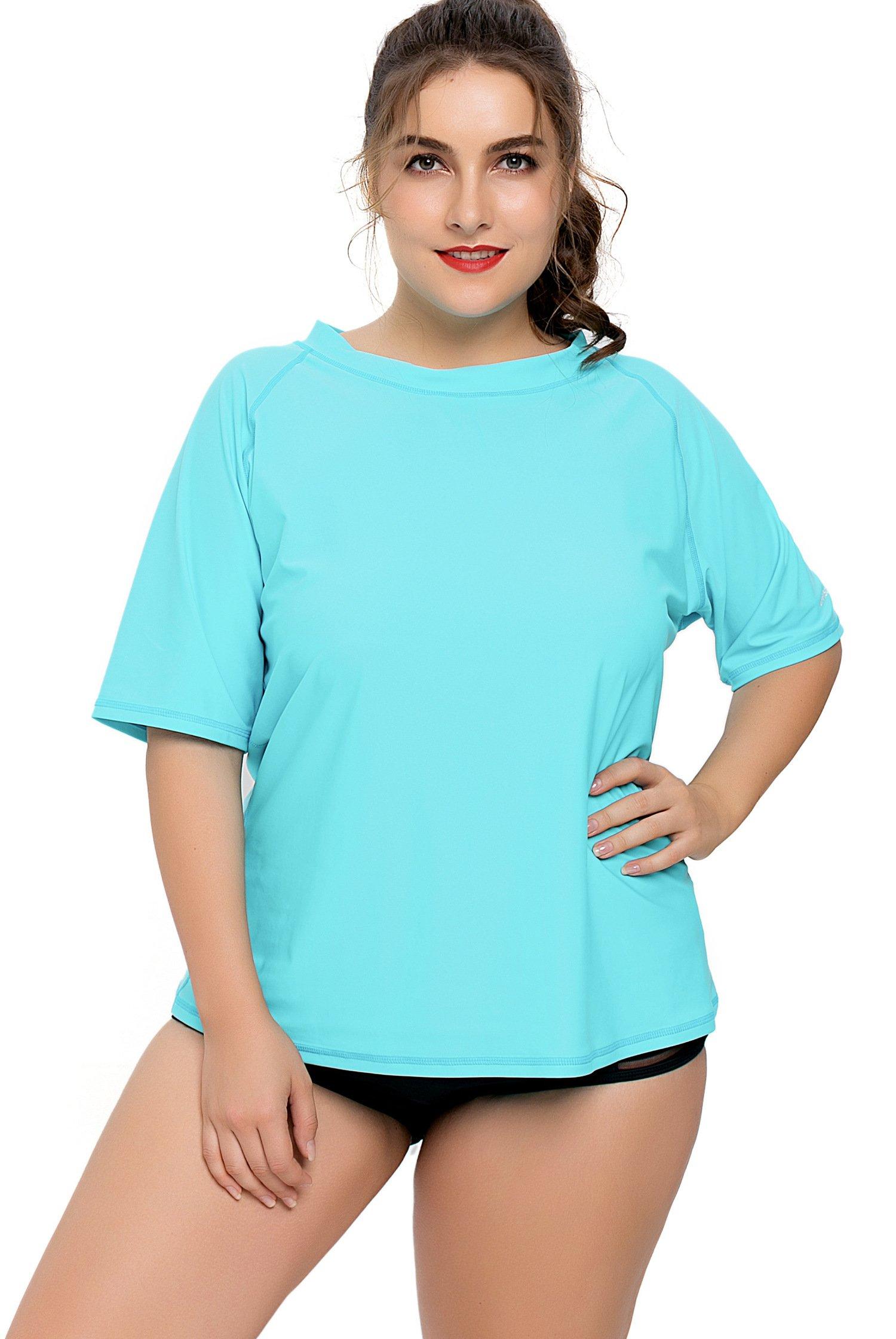 Vegatos Women Plus Size Rash Guard Swimsuit Quick Dry Athletic Swim Tops UPF 50+