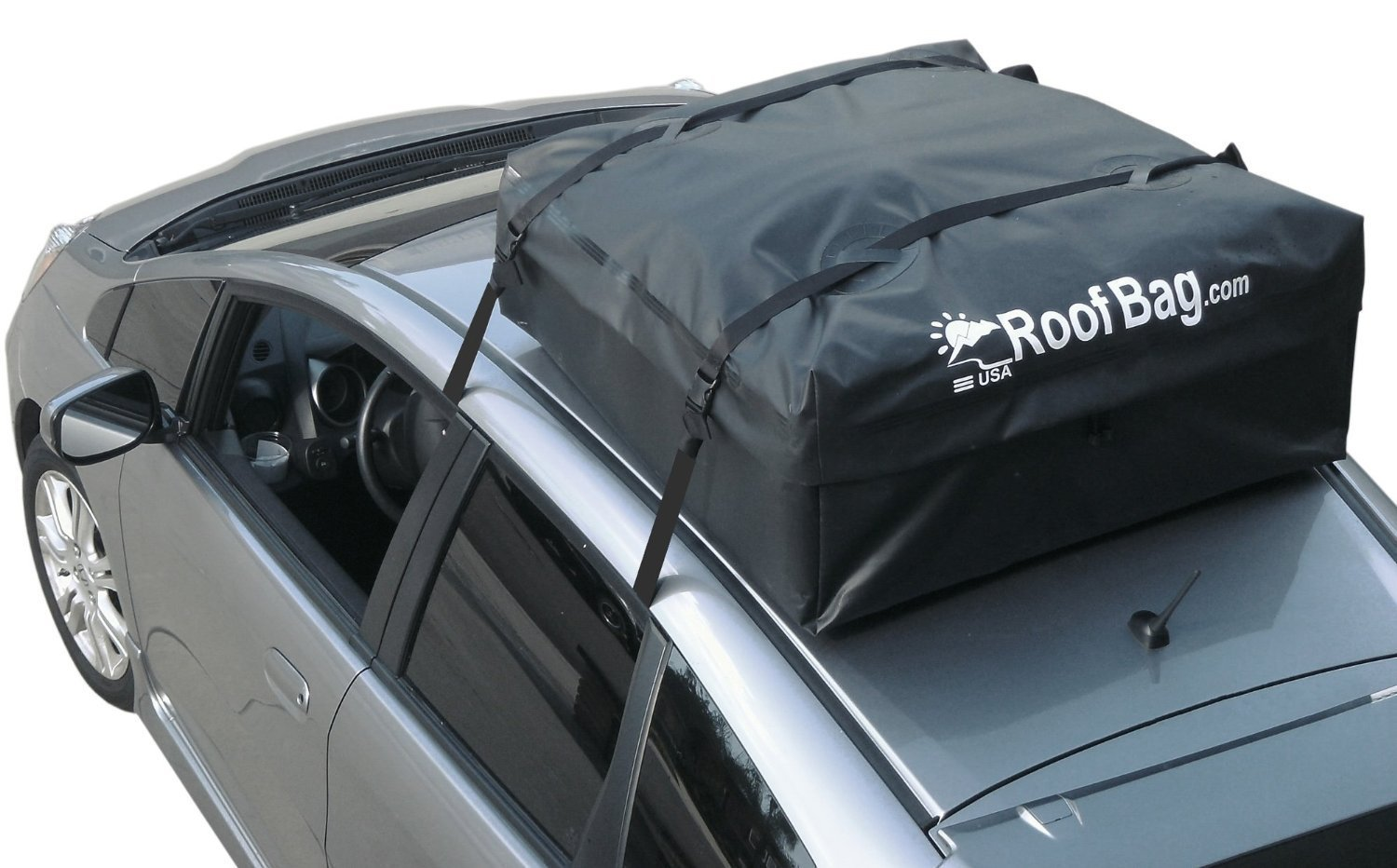 RoofBag - Made in USA, 100% Waterproof Car Top Carrier (Works on ALL Cars- No Rack Needed) - Includes Protective Mat + Storage Bag + Heavy Duty Straps by RoofBag
