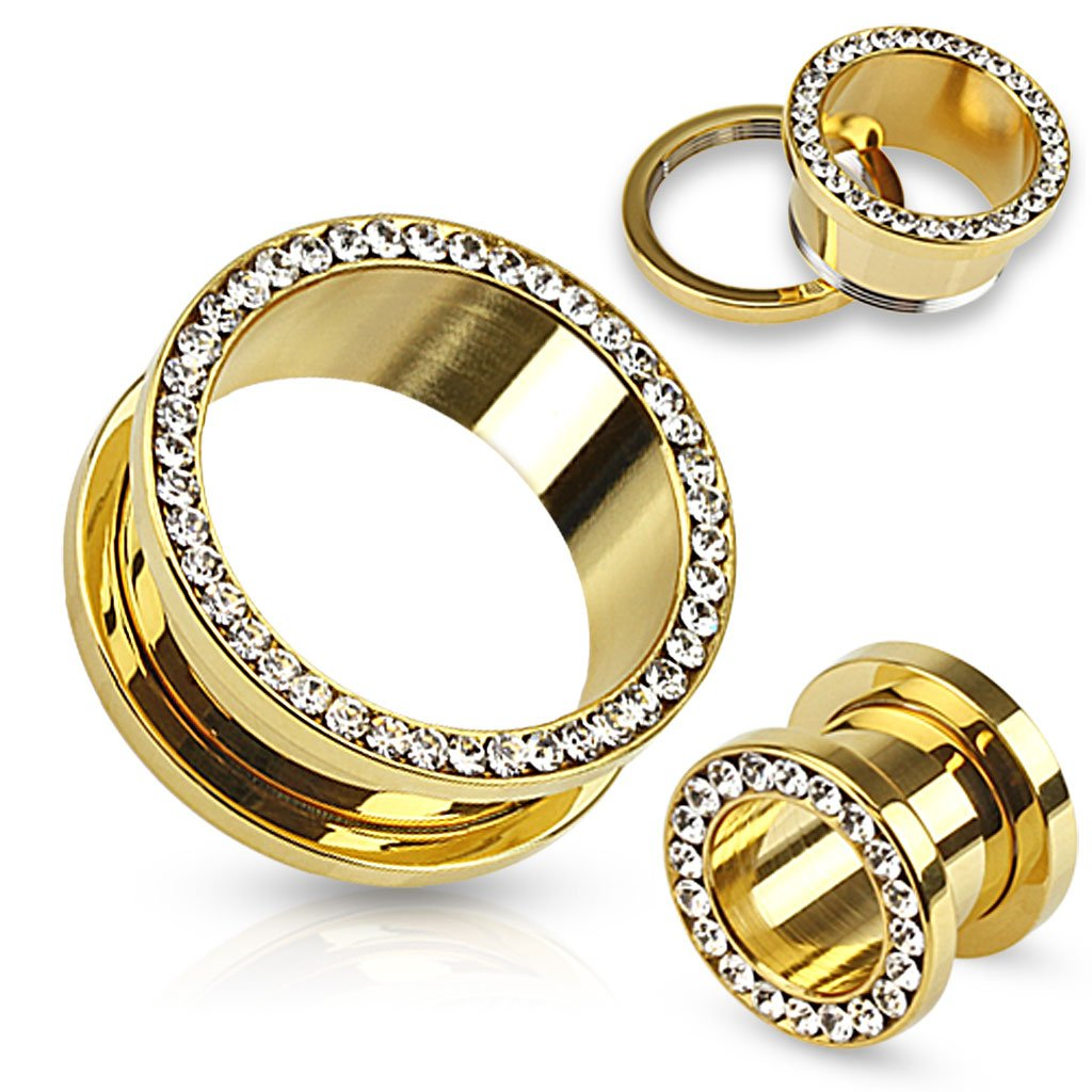 Pair Of Multi-Gemmed Rim Gold IP over 316L Surgical Steel Screw Fit Tunnels by Dynamique
