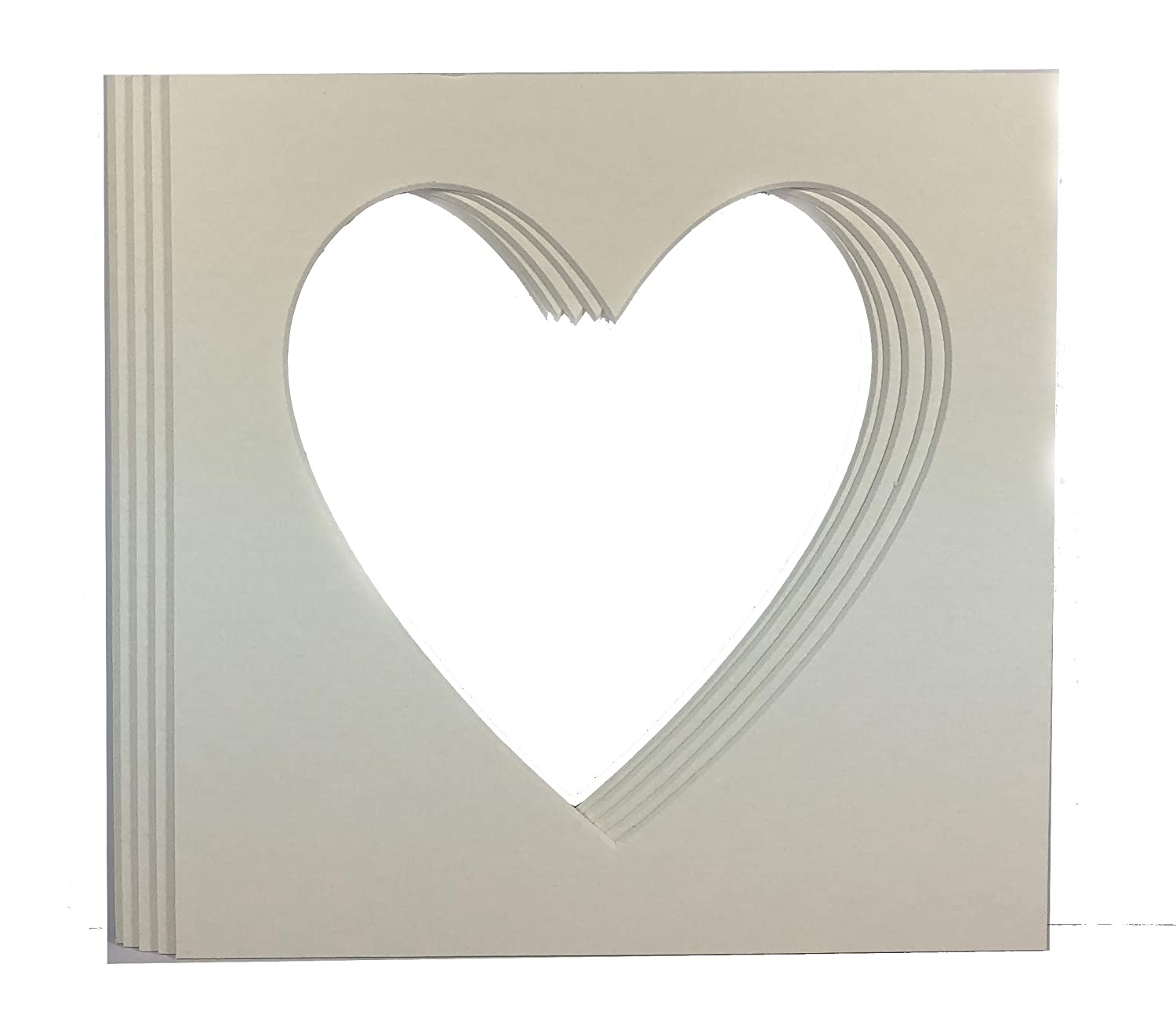 23 cm x 23 cm Heart Shaped  Mounts to fit 6 x 6 inch  Photo /& Picture 5 PACK