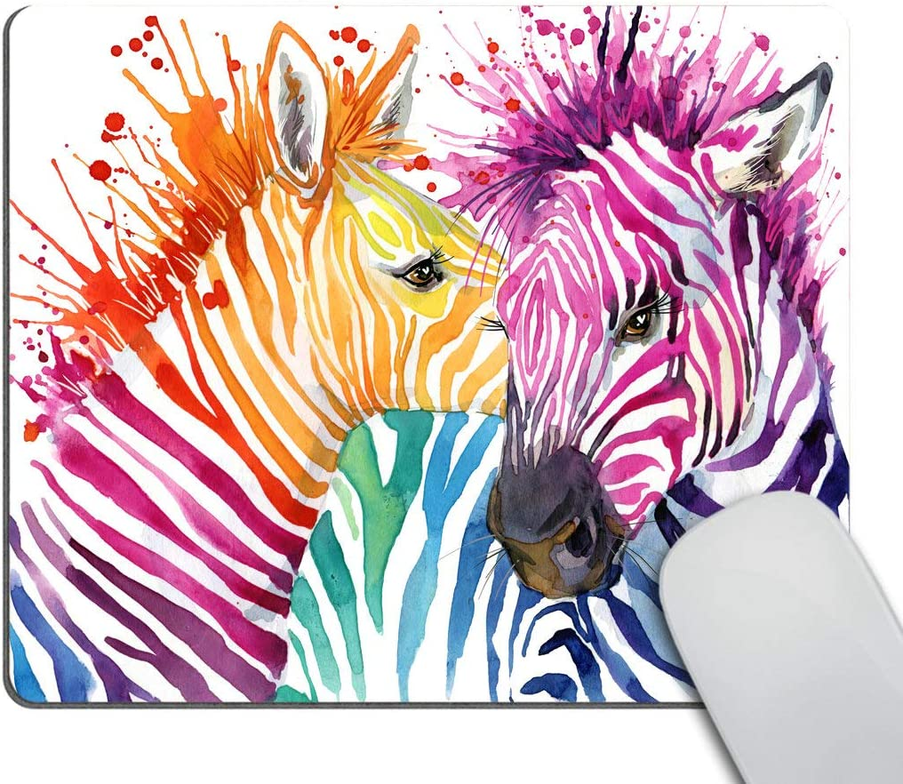 Smooffly Cute Zebra Watercolor Mousepad Non-Slip Rubber Gaming Mouse Pad Rectangle Mouse Pads for Computers Laptop