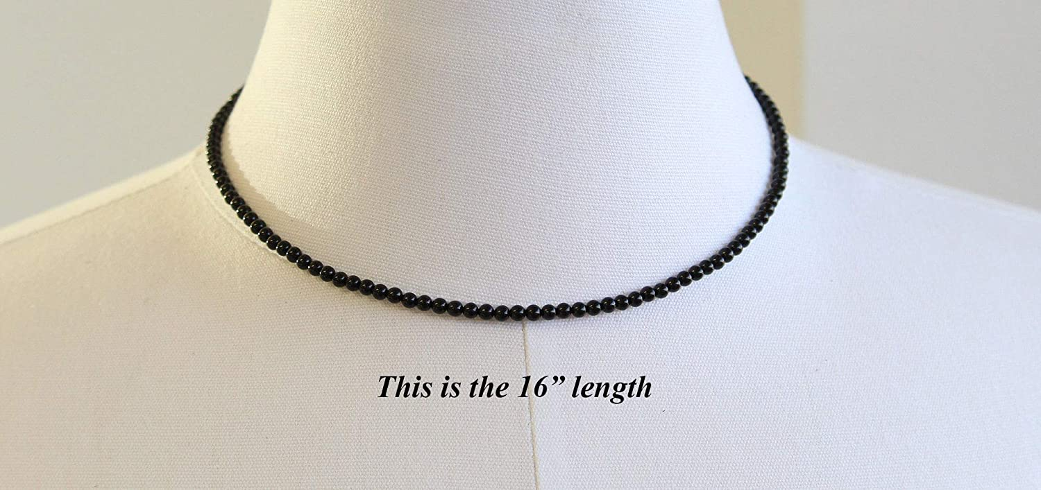 """30/"""" SALE Details about  /Onyx Bead Necklace 6mm Sterling Silver Custom Length 16/"""""""