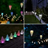 Quace Color Changing Garden Lights 7 Colors and 3 Lighting Modes Solar Outdoor Decoration Lights Hang/Stick - Single Unit