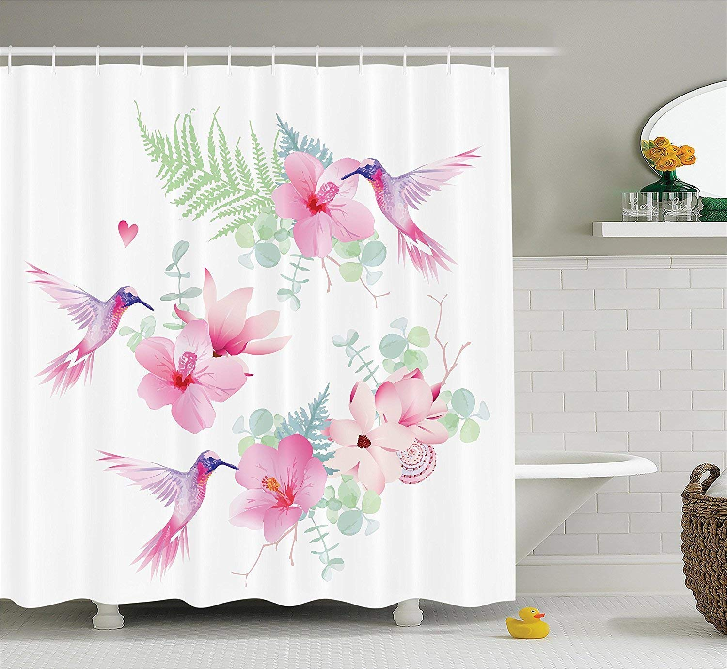 werert Floral Shower Curtain Curtain Shower Set Hummingbirds Decor, Tropical Flowers with Flying Hummingbirds Wild Nature Branches Blooms,with Hooks, White rosado Purple 72 X 72 9b7aee