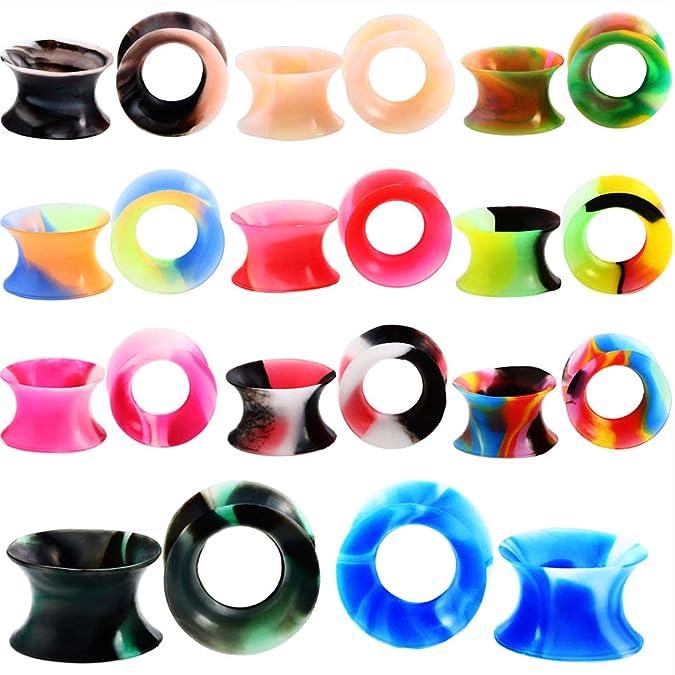 Kit de estiramiento de orejas de oreja con color mixto, túnel de carne flexible Ampliar - Calibres de oreja Expandir conjunto Joyería piercing en el cuerpo ...