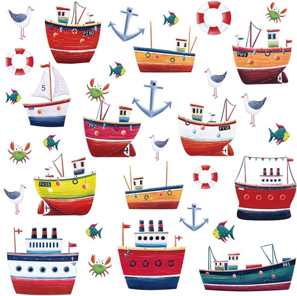 ufengke Pegatinas de Pared Barcos Náuticos Vinilos Adhesivos Pared Anclas Pescado Decorativos para Dormitorio Habitación Infantiles Niños Bebé: Amazon.es: Hogar