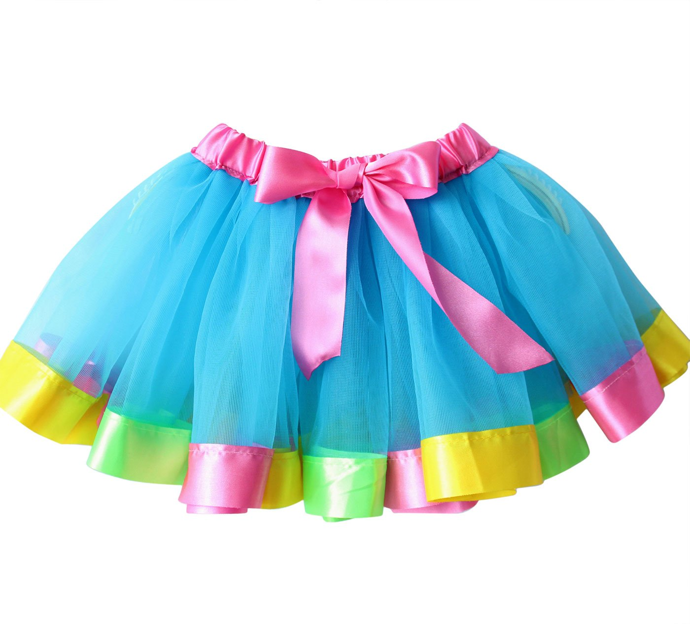 Happy Cherry Baby Girls Rainbow Tutu Pleated Tulle Skirt Dance Costumes with Bow