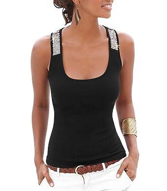 ffa9af513c6f2 Bigood Sexy Débardeur avec Paillettes Femme Top Débardeur Gilet Noir Size S