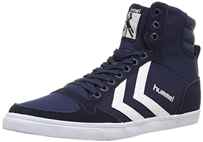 Hummel SLIMMER STADIL HIGH, Unisex-Erwachsene Hohe Sneakers, Grau (Castle Rock/Ribbon Red/Brilliant Blue), 37 EU (4 Erwachsene UK)