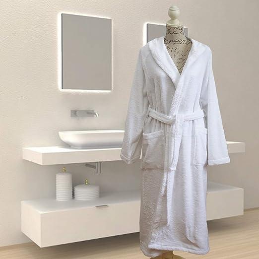 Giovanni Dolcinotti Bath Collection | Albornoz para hombre y mujer de rizo, 100% algodón, fabricado en Italia, M, blanco: Amazon.es: Ropa y accesorios
