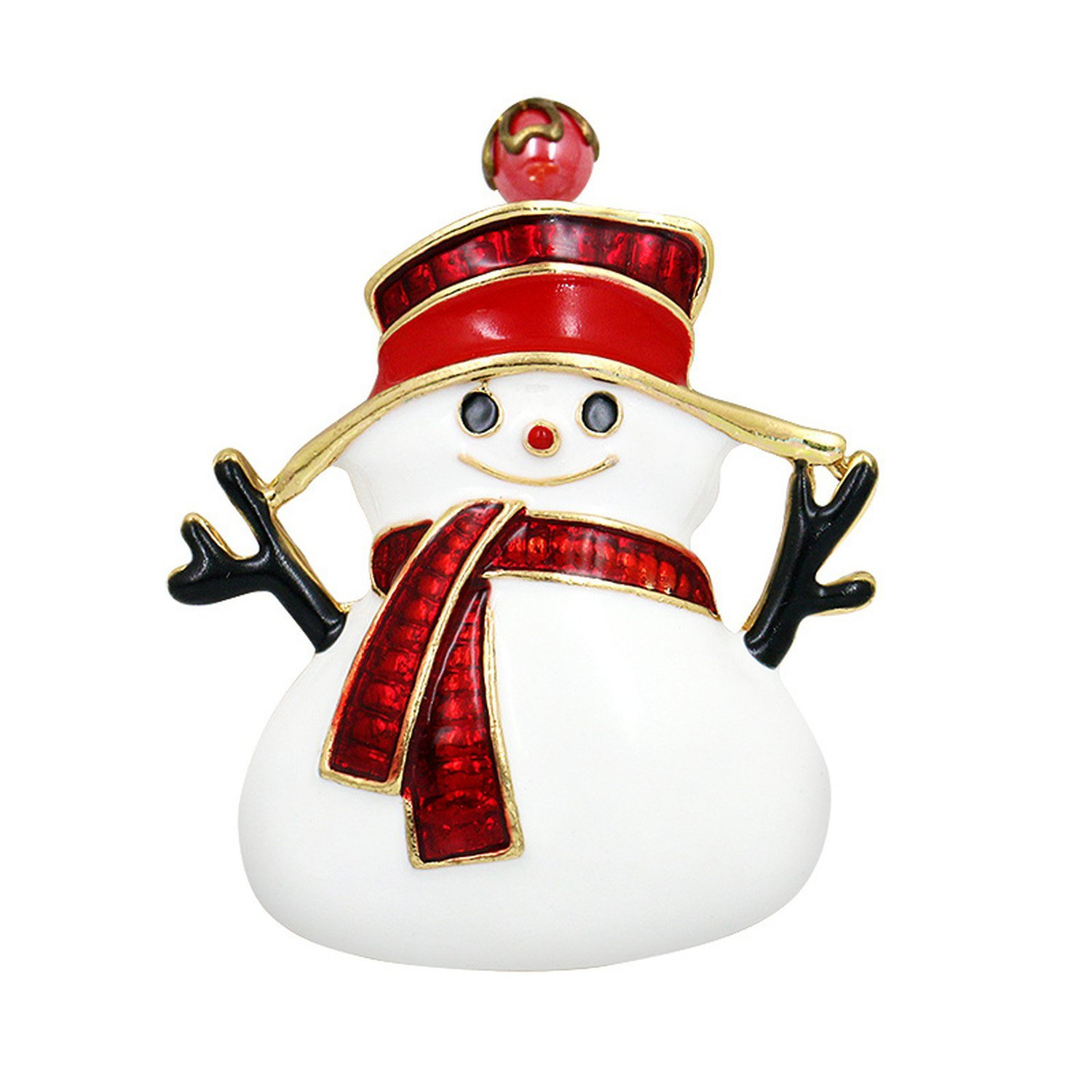 Baolustre Red Enameled Snowman Brooch Pins For Christmas In Gold Color Plated