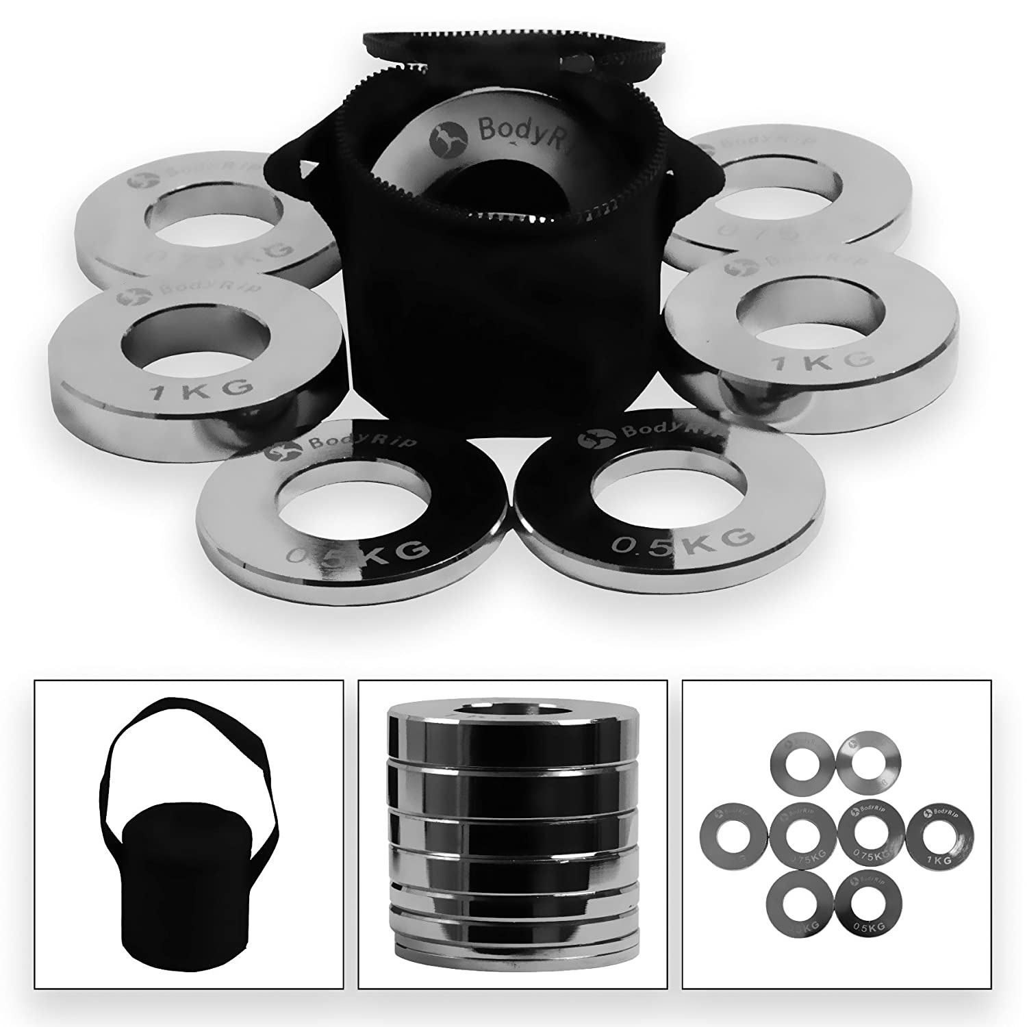 BodyRip Steel 2 Olympic Fraction Weight Plate SET 2 x 0.25kg 2 x 0.5kg 2 x 0.75kg 2 x 1kg Discs Low Weights