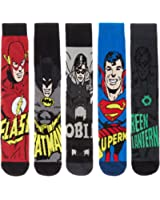 DC Comics Superhero Mens 3 Pack, 5 Pack and 8 Pack Ribbed Socks Featuring Justice League Heroes Batman, Superman, Robin, Flash and Green Lantern - Size UK6-11