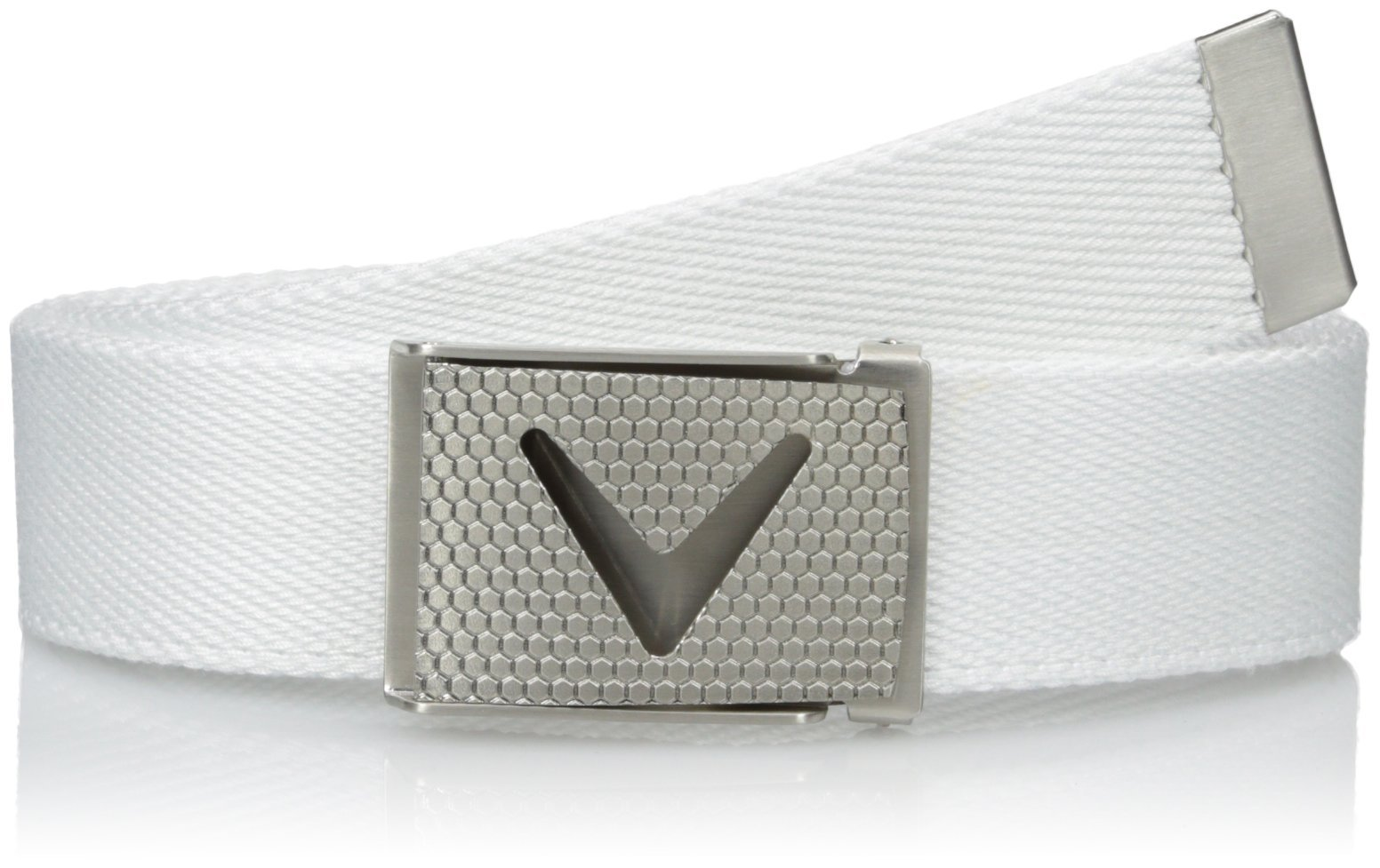 Callaway Men's Golf Cut To Fit Solid Webbed Belt, White (100), One Size