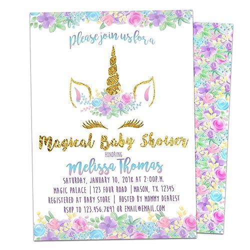 Amazon Com Unicorn Baby Shower Invitations Girl Face Eyelashes