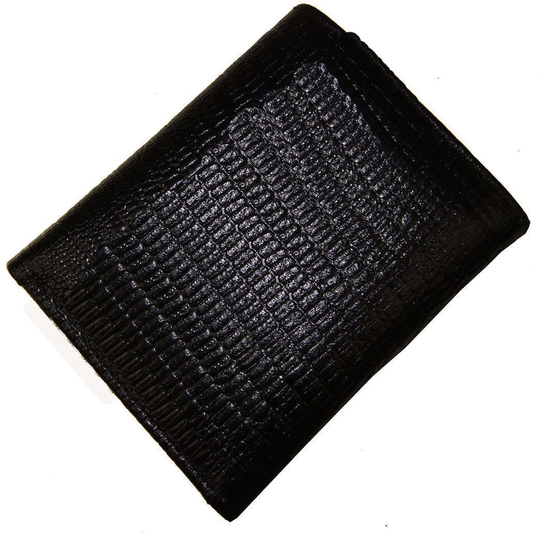 AG Wallets Genuine Leather Men's Snake Skin Embossed Trifold Wallet (Black)