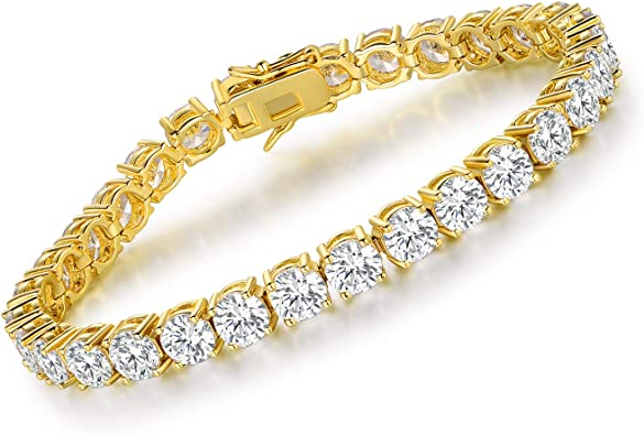"""7/"""" 5mm Round Zirconia Bracelet White CZ Yellow Gold Filled Chain Mother/'s Gift"""