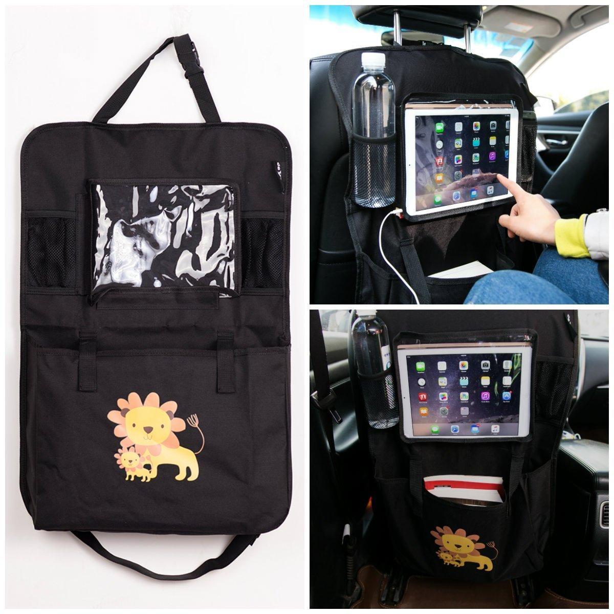 Car Back Seat Organiser With Max 9.7 inch iPad / Tablet Holder Multi-Pocket Storage Kick Mat Organiser Protectors For Car, SUV, Baby Stroller Eyoo